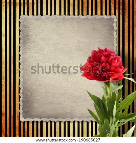 Old vintage card with peony on golden striped background - stock photo