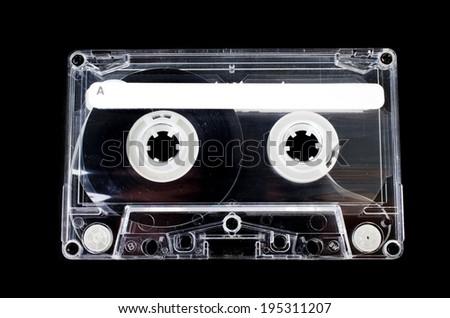 Old Vintage Cassette tape on black background - stock photo