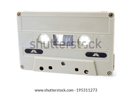Old Vintage Cassette tape on white background - stock photo