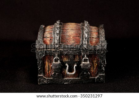 Old Vintage Classic Wooden Object Pirate's Trunk - stock photo