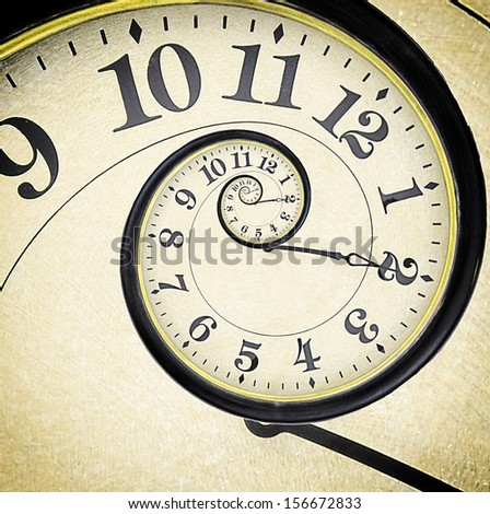 Old vintage clock in the drost effect - stock photo