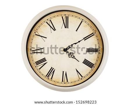 Old vintage clock isolated on white background  - stock photo
