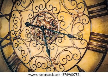 Old vintage clock - Vintage filter - stock photo