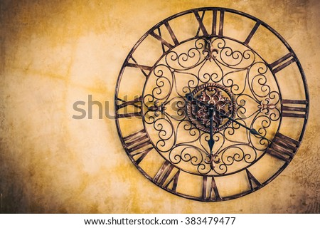 Old vintage clock - Vintage filter - stock photo