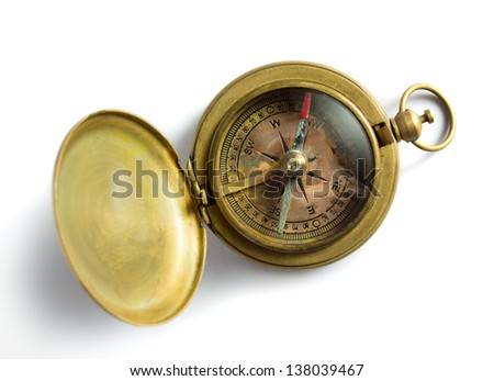Old vintage compass isolated on white - stock photo
