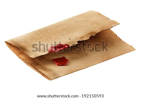 old, vintage envelope isolated - stock photo