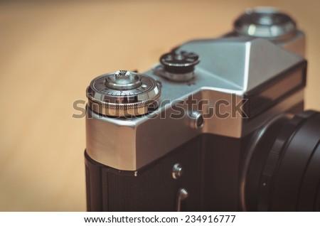 old vintage film camera closeup - stock photo