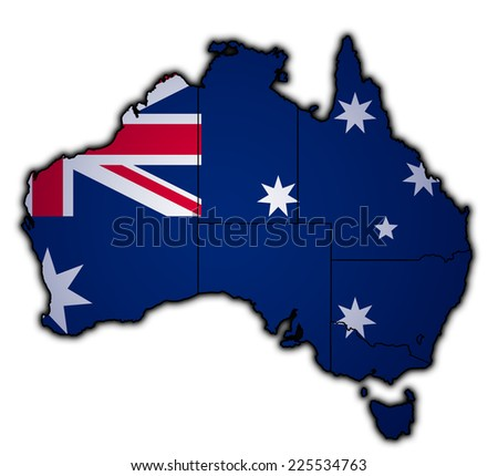 old vintage flag of australia with territory borders - stock photo