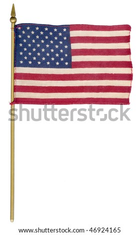 Old Vintage Flag Of USA  isolated on the white background - stock photo
