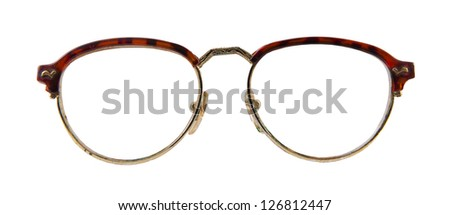 old vintage glasses isolated over white background - stock photo