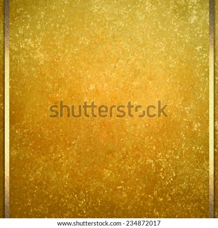 old vintage gold background illustration with gold ribbon trim or accent design, distressed old texture, gold color paint, old yellow background paper - stock photo