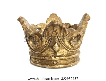 Old vintage golden crown isolated over white - stock photo