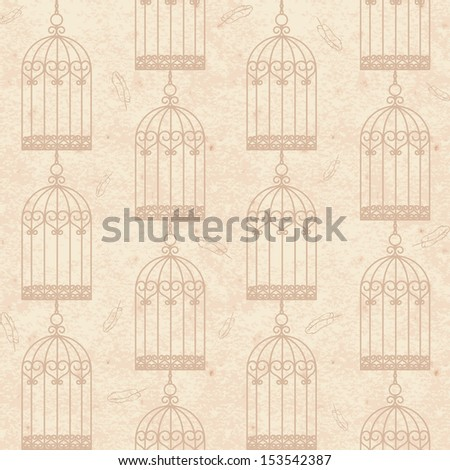 Old vintage grunge paper seamless background with birdcages and feathers  - stock photo
