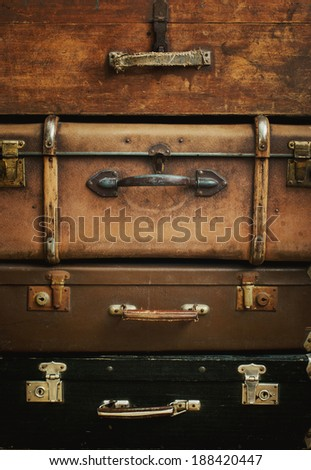 Old Vintage Grunge Trunks like Tower, vertical - stock photo