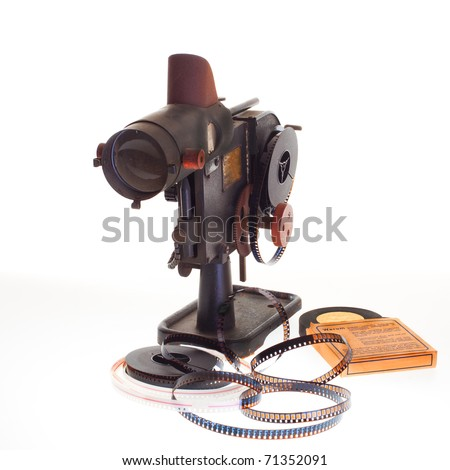 old vintage home filmprojector on white background - stock photo
