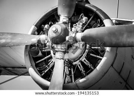 Old vintage jet engine - stock photo