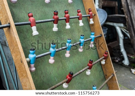 Old vintage kickers game in wood material - stock photo