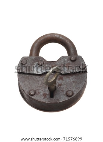 Old vintage lock and key on a white background (isolated). - stock photo