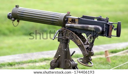 old vintage machine gun - stock photo