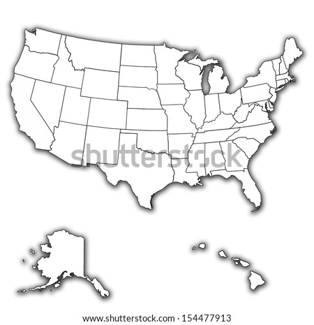 old vintage map of usa with state borders - stock photo