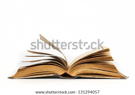 old vintage opened books - stock photo