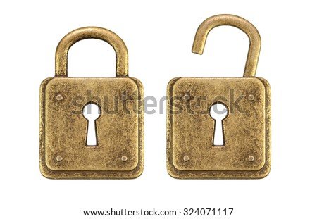 Old, vintage padlocks ( locked and unlocked  )isolated on white background - stock photo