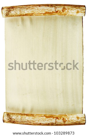 Old vintage paper roll on white background - stock photo