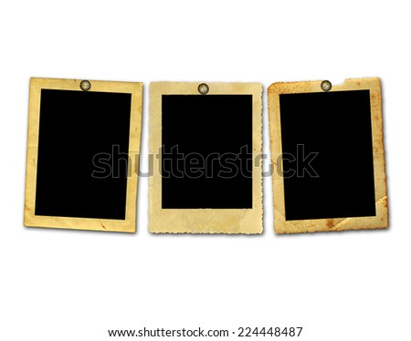 Old vintage paper with grunge frames for photos - stock photo
