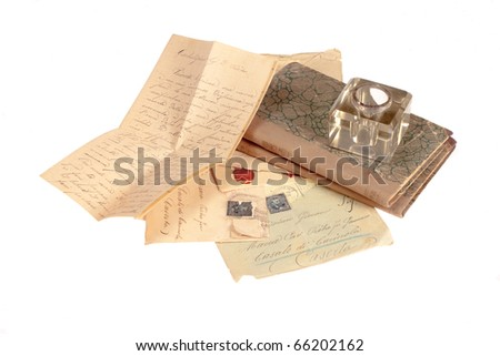 old vintage personal handwritten letter isolated on white background - stock photo