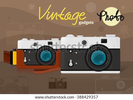 Old Vintage Photo camera - stock photo
