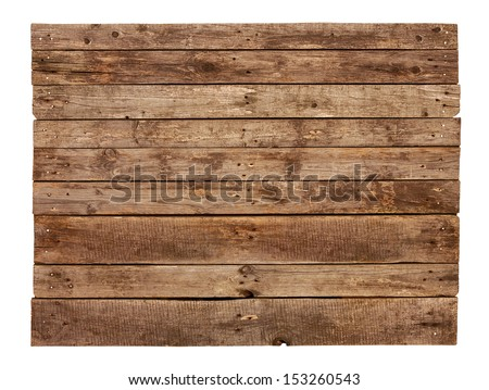 Old vintage planked wood sign board isolated on white background - stock photo