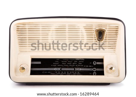 old vintage radio, clipping path included, white isolated - stock photo