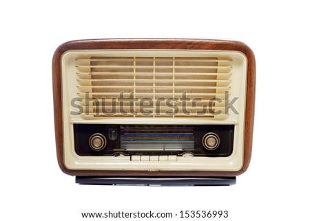 Old vintage radio isolated over white background - stock photo