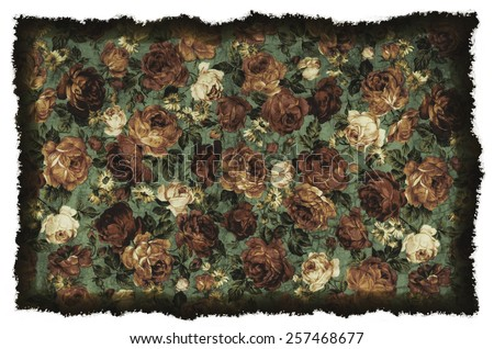 old vintage romantic background with flower - stock photo