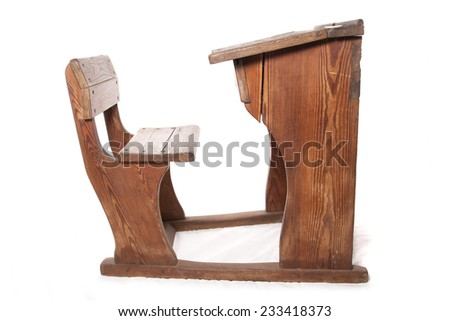 old vintage school desk and chair cutout - stock photo