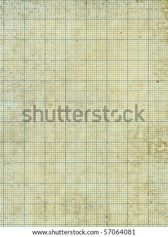 Old vintage stained discolored dirty graph paper. - stock photo