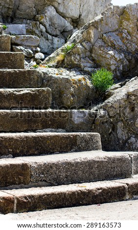 Old vintage stone stair. United Kingdom, Devon, Plymouth. - stock photo