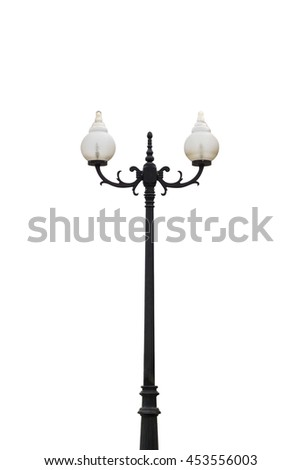 Old Vintage Street Lamp Post Lamppost Light Pole isolated on white - stock photo