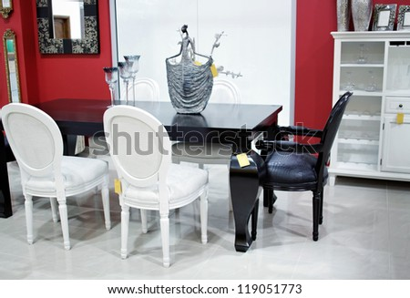 old vintage style chairs and table, interior equipment - stock photo