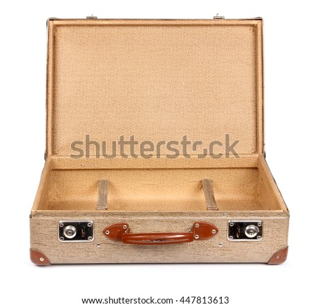 Old vintage suitcase opened front isolated on white - stock photo