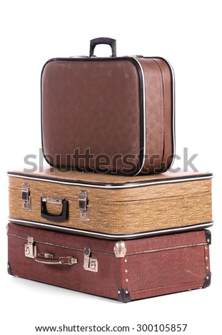 old vintage suitcases isolated on white background - stock photo