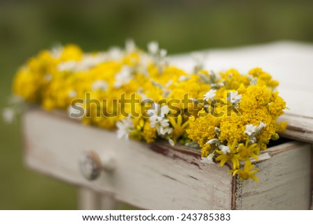 Old vintage table and flowers - stock photo