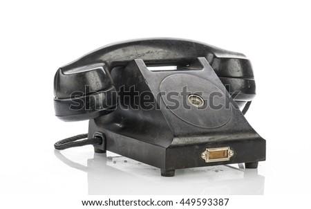 Old Vintage Telephone Isolated on White Background  - stock photo