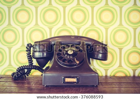 Old vintage telephone - Vintage Filter - stock photo