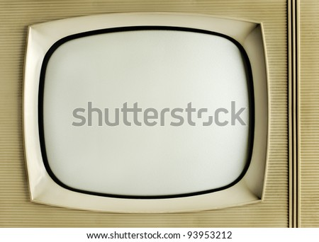 Old vintage television - grunge background with copy space - stock photo