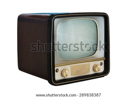 old vintage television set  on white background - stock photo