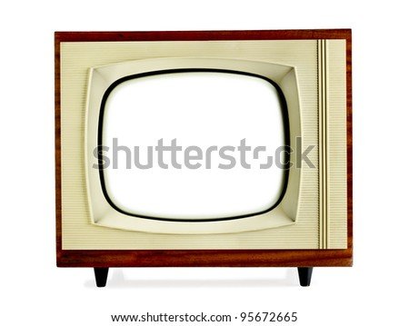 Old vintage television with blank screen isolated on white background - stock photo
