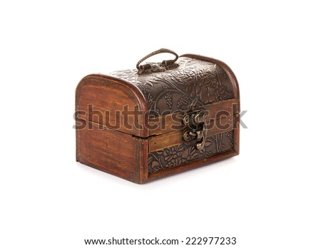 Old, vintage trunks, boxes on white background - stock photo