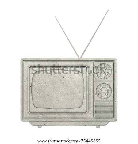 Old vintage TV recycled paper on white background - stock photo