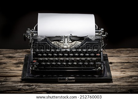 Old vintage typewriter, close-up. - stock photo